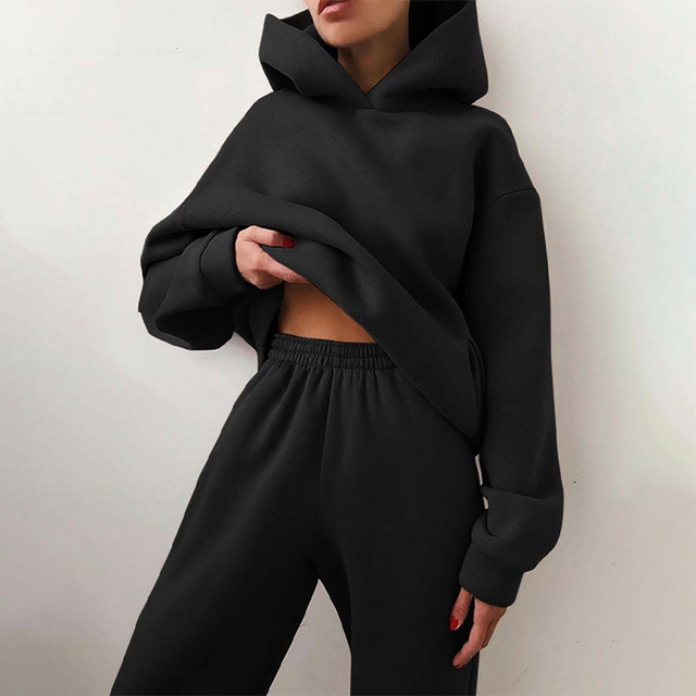 Women Elegant Solid Sets For Women Warm Hoodie Sweatshirts And Long Pant Fashion Two Piece Sets Ladies Lace Up Sweatshirt Suits 4