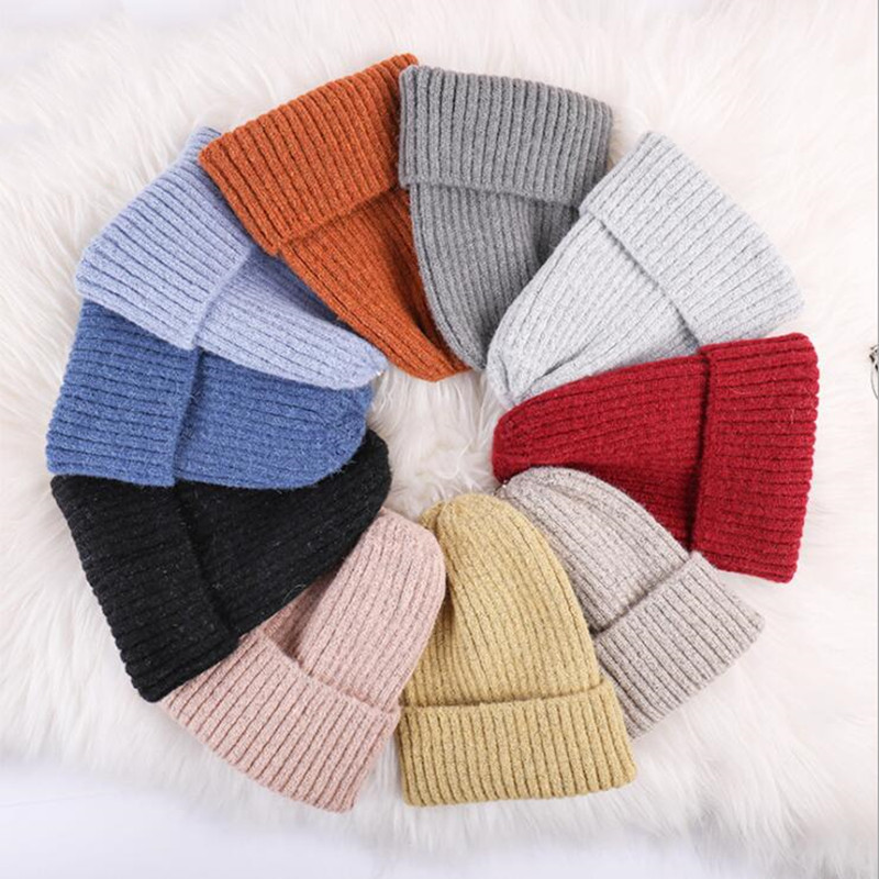 2019 New Solid Knitted Warm Soft Trendy Hats Simple Korean Style Womens/Ladies Wool Casual Caps Elegant All-match Beanie