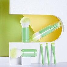 Portátil 4 pçs pincéis de maquiagem conjunto cosméticos pó sombra de olho fundação blush cosméticos mistura beleza compõem kabuki escova ferramentas