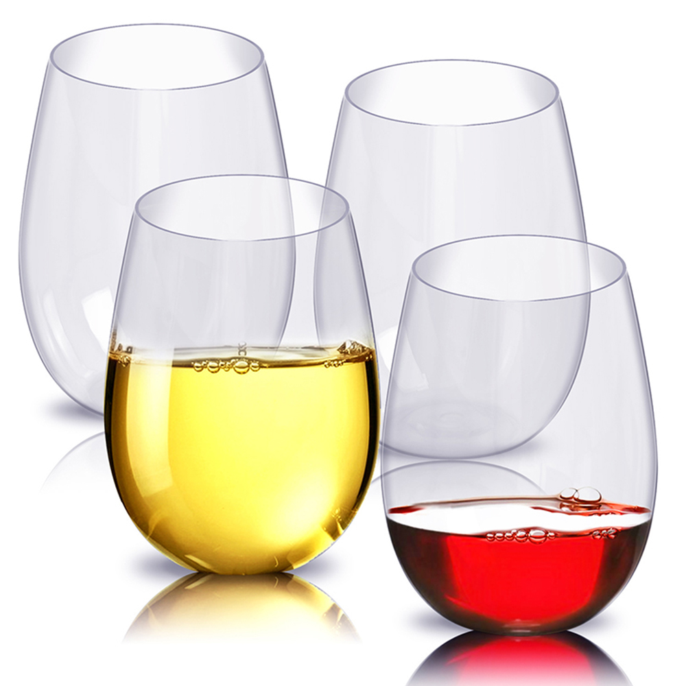 4pcs/set Wine Glass Shatterproof Plastic Unbreakable Red Tumbler Glasses Cups Reusable Transparent Fruit Juice Beer Coffee Cup