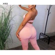 Сексуальные женские тонкие наборы розового цвета топ обтягивающие