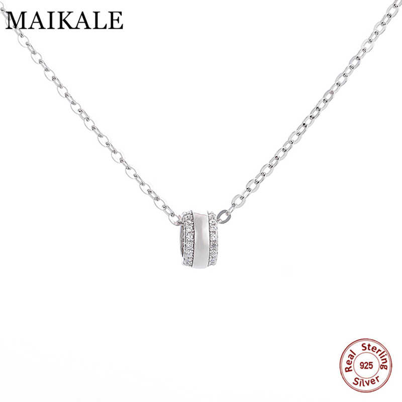MAIKALE 高級 925 スターリングシルバーネックレスチェーンラウンド宝石 AAA キュービックジルコニアペンダントネックレス女性ガールズジュエリーギフト