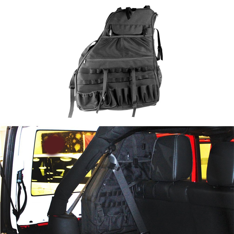 Roll Bar Storage Bag Cage for 2007~2019 Jeep Wrangler Jk Rubicon 4-Door with Multi-Pockets & Organizers & Cargo Bag Saddlebag To