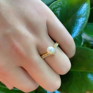 Image 5 - Kuololit 100% Moissanite 10K żółte złote pierścionki dla kobiet okrągły prawdziwy biały perła słodkowodna pierścionek zaręczynowy panna młoda prezent