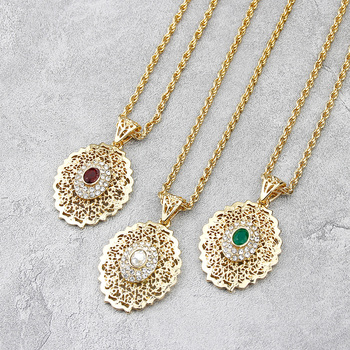 Sunspicems Long Pendant Necklace for Women Gold Color Moroccan Caftan Charm Sweater Chain African Ethnic Wedding Jewelry Gift 1