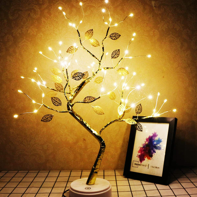 LED Tabletop Bonsai Tree Light Touch Switch DIY Artificial Light Tree Lamp Decoration Festival Holiday Battery/USB Operated D30 1