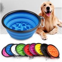 1000ML Pet Portable Slow Food Folding Bowl Outdoor Dog Cat Water Dual-use