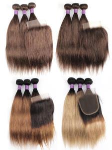 Hair Weave Blonde Lace-Closure Bobbi Collection Brown Straight 3-Bundles Ombre Cheap