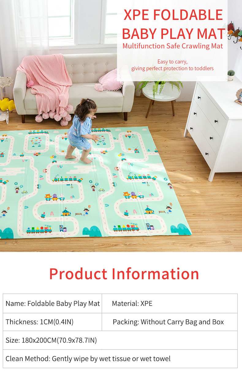 H403775502e3b4e3fb0a3b02a3bc18606g 180X200CM Baby Mat 1CM Thickness Cartoon XPE Kid Play Mat Foldable Anti-skid Carpet Children Game Mat