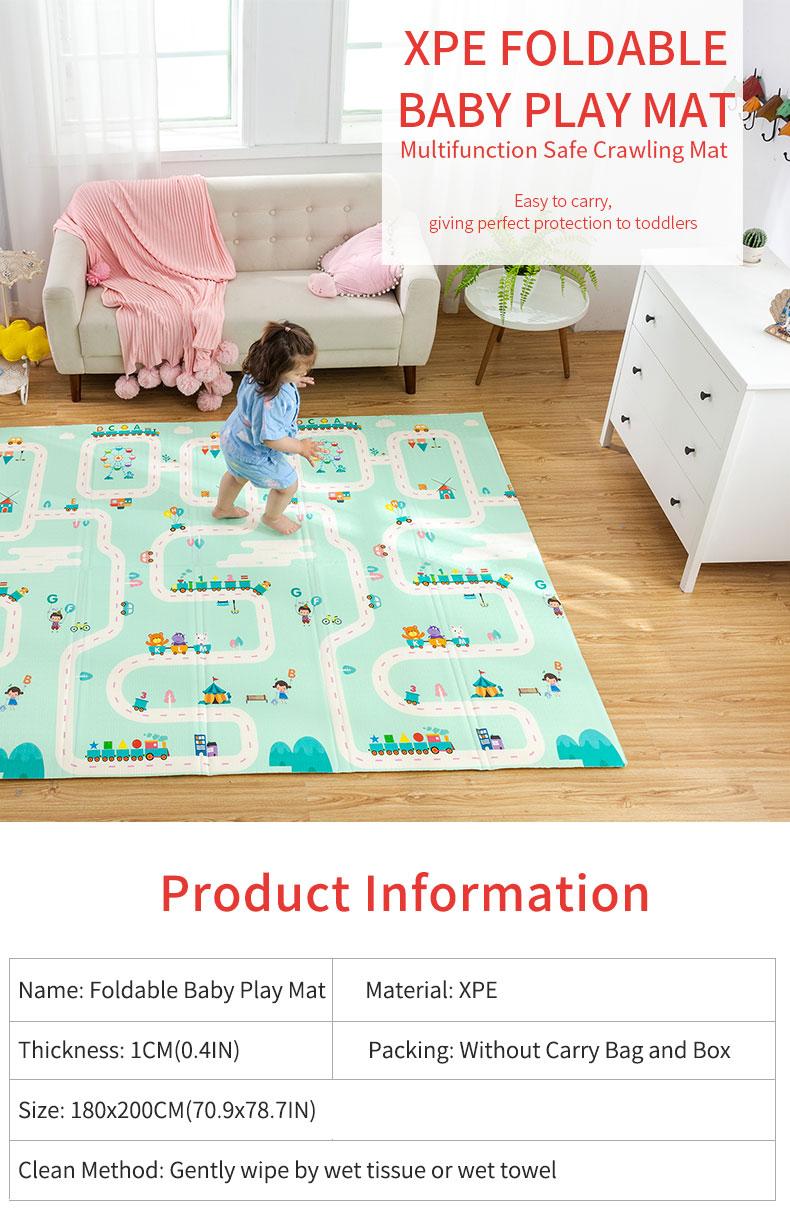 H403775502e3b4e3fb0a3b02a3bc18606g 180X200CM Baby Mat 1CM Thickness Cartoon XPE Kid Play Mat Foldable Anti-skid Carpet Children Game Mat