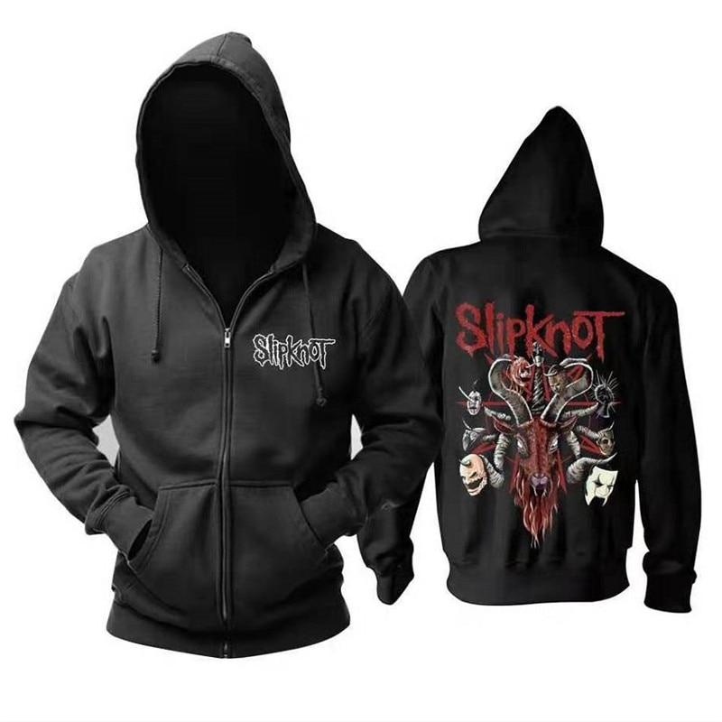 Slipknot Band Metal Printed Men Hoodies Sweatshirts Casual Hooded Coat Cardigan Jacket Zip Pocket Autumn Fashion Hoody S-4XL