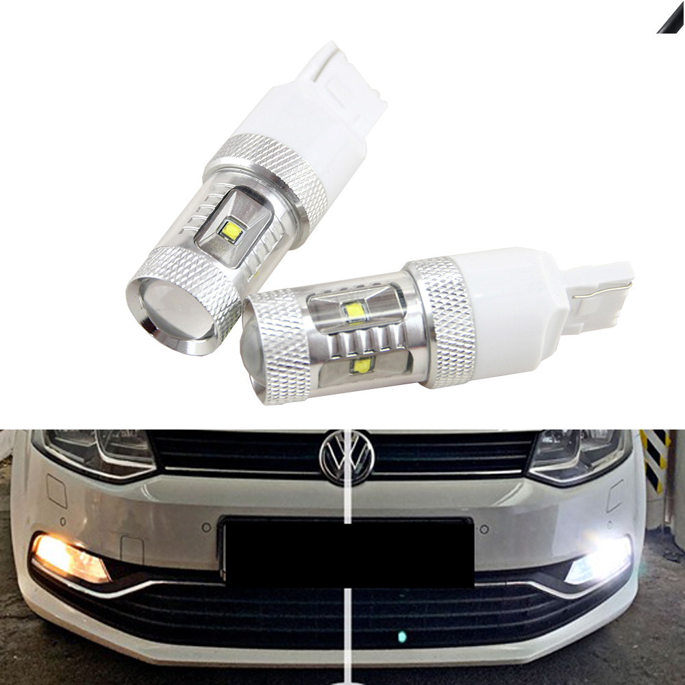 2Pcs 30W White CANBUS No error T20 W21W 7440 7443 LED Bulb for Polo 6C (2016) LED Daytime Running Lights DRL image