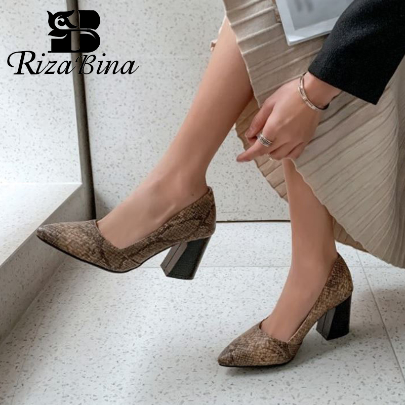 RIZABINA Plus Size 32-43 Fashion Women Pumps Shoes New Design Snake Print Shoes Women Thick Heels Pointed Toe Casual Footwear