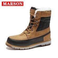 Новые Теплые зимние мужские ботинки кожаные уличные ботильоны