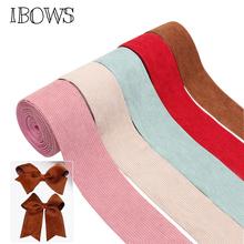 IBOWS 3 #8222 75mm sztruks wstążka aksamitna tkaniny tasiemki na ubrania ręcznie robione taśmy dla diy do włosów łuk akcesoria materiały do szycia tanie tanio CN (pochodzenie) Pojedyncze twarzy Ryps Jednolity kolor JJYT335 Poliester bawełna Wstążki PRINTED High Quality Ribbons