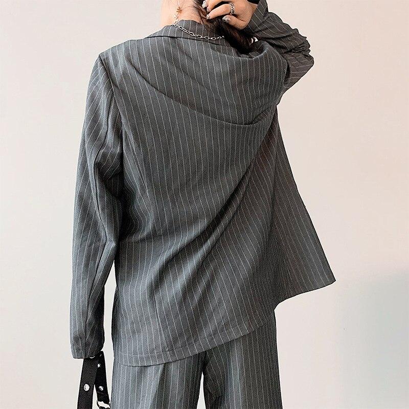 Fashion Autumn Women Striped Blazers Jackets Office Lady Suit Slim Single Button Casual Business Coat Pockets Blazer Feminino