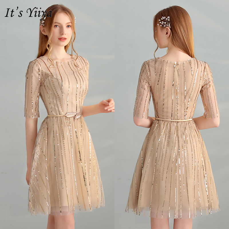 It's YiiYa Cocktail Dress 2019 Fashion O-Neck Half Sleeve Sequins Dresses Sexy Elegant Slim Party Robe Cocktail LX324