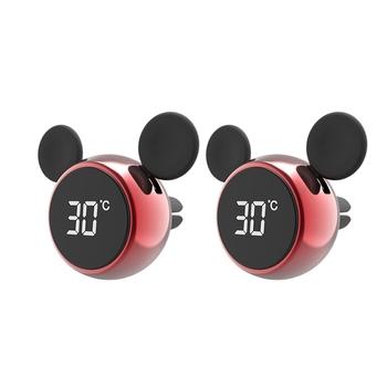 Przenośny do samochodu zegar cyfrowy LCD wyświetlacz temperatury zegar elektroniczny termometr aromaterapia samochód akcesoria czerwony 2 sztuk tanie i dobre opinie CN (pochodzenie)