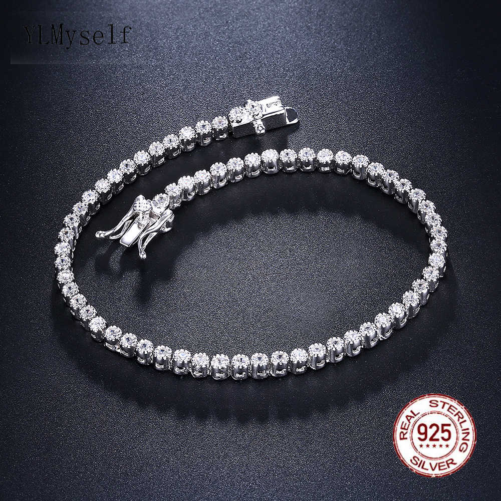 Elegant Pure 925 silver 17.5 cm Tennis bracelets Jewelry 2mm Round crystal jewellery Luxury Eternal Sterling Silver Bracelet