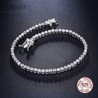Elegant Pure 925 silver 17.5 cm Tennis bracelets Jewelry 2mm Round crystal jewellery Luxury Eternal Sterling Silver Bracelet