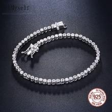 Eleganti gioielli in argento Sterling puro da 7 pollici con braccialetti da Tennis incastonati 2mm di cristallo rotondo di lusso eterno 925 gioielli in Zirconia