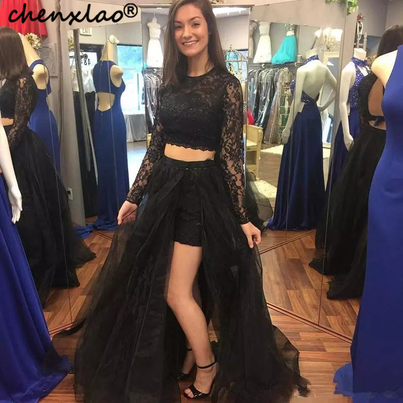 Sexy Black Girl Two Piece Prom Dress 2020 Long Sleeves High Neck Lace Formal Evening Dresses High Slit Elegant Party Gowns