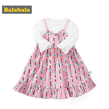 Balabala children clothing girl dress spring 2020 new baby comfort suit