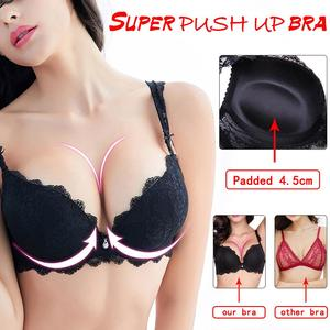 Image 2 - Sexy Women Lingerie Set Push up Bra set 3/4 Cup Brand Green Lace Underwear Set  Women Deep V Brassiere Black