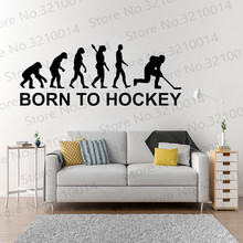 New Wall Stickers Kids Rooms Stickers Born to Hockey Evolution Vinyl Decal Sticker Art Decor Removable Decal PW754 pirate ship and treasure map decal set wall decal custom vinyl art stickers for classrooms kids rooms baby nurseries 3004