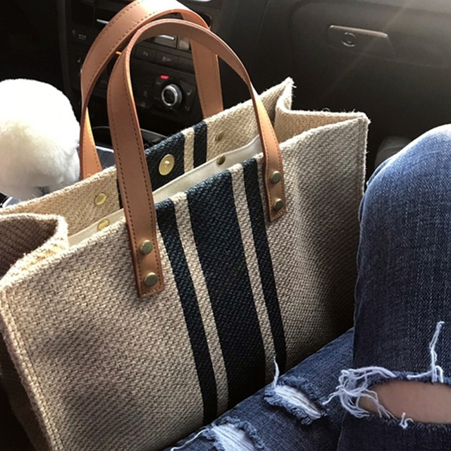 Simple Fashion Large-capacity Handbag For Ladies Vintage Striped Tote For Female Portable Ol Business Briefcase Korean Style 1