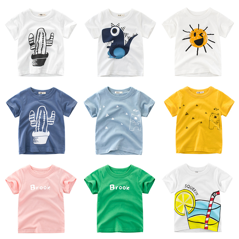 Boys T Shirt Girls Kids Children Tops Cotton Clothing Short Sleeves Summer Clothes Print Cartoon Tee White Yellow Orange Blue