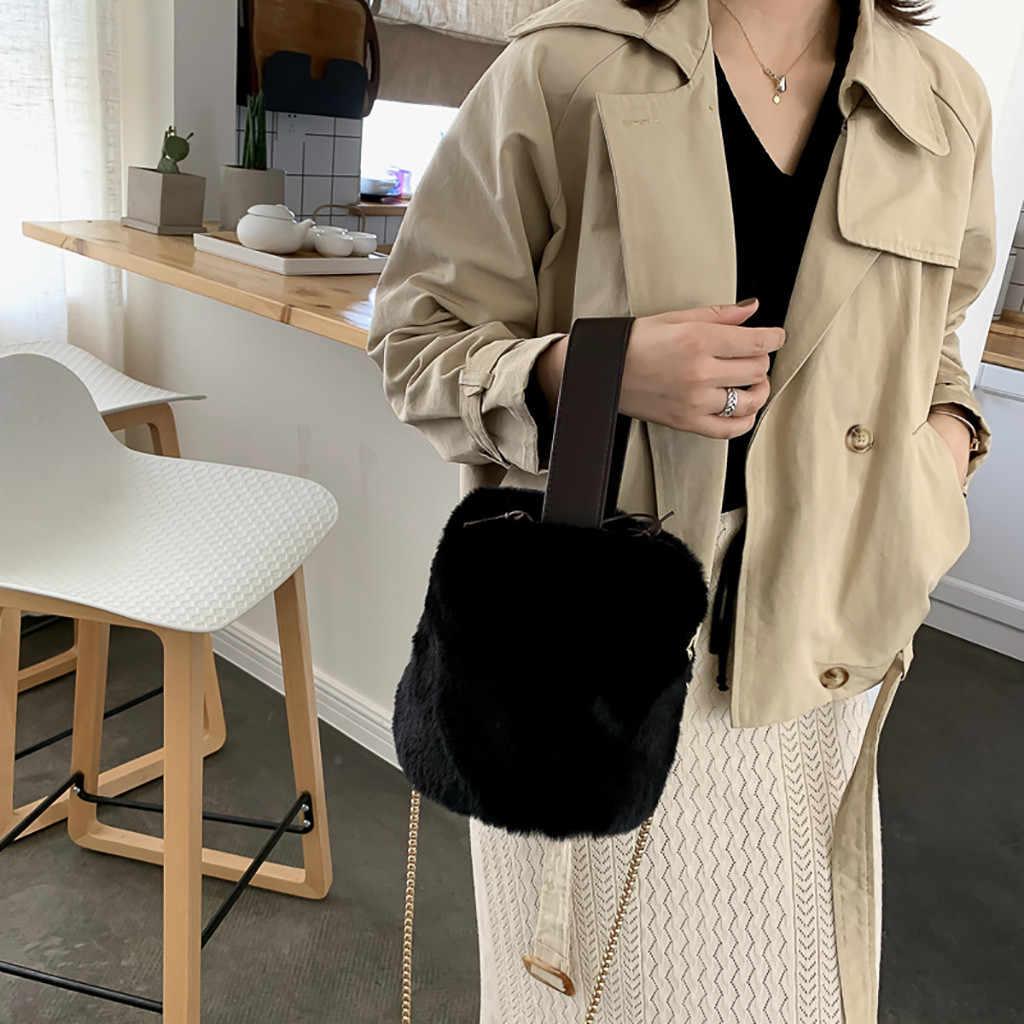 Wanita Musim Dingin Tas Fashion Mewah Bulu Imitasi Tas Ember Rantai Kecil Tas Vintage Kasual Messenger Bahu Tas Pesta Bolsa