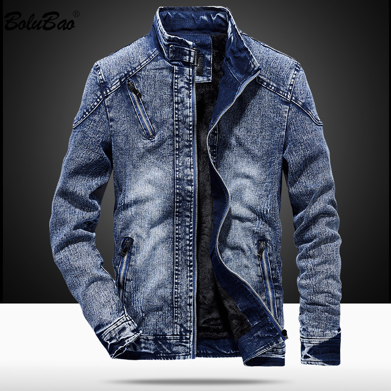 BOLUBAO Men High Quality Denim Jackets Coat Autumn Male Solid Color Zipper Jacket Overcoat Men's Casual Fashion Jackets