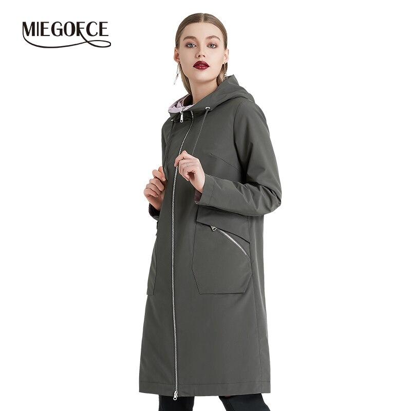 Mieogofce 2019 primavera e outono longo blusão feminino quente jaqueta de algodão feminino com gola de suporte novo design
