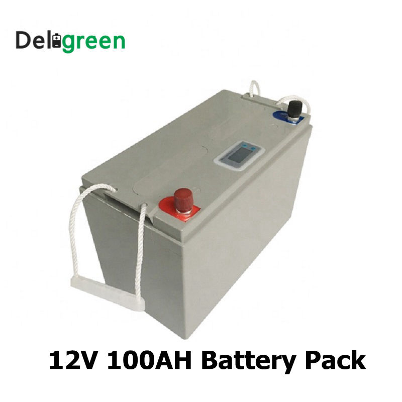 <font><b>12V</b></font> 100AH Lithium 3.2V <font><b>LiFePO4</b></font> <font><b>Battery</b></font> pack for Solar Energy storage system Electric Boat Yatch with Led display image