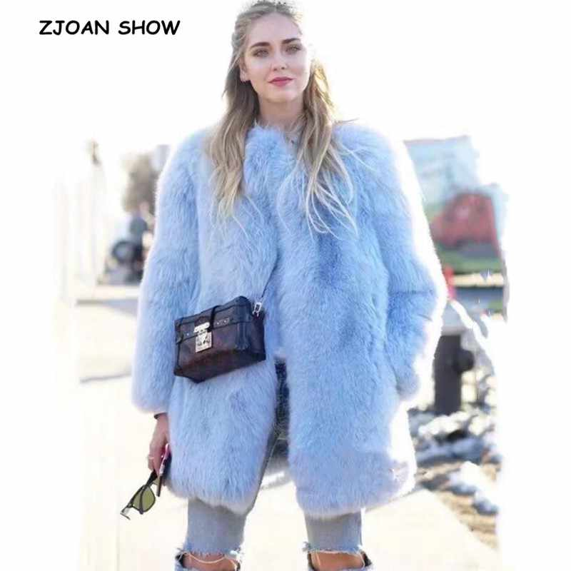 2019 Winter Ronde Kraag Behaard Shaggy Faux Fur Jacket Aqua blue Vintage Lange mouwen Furry Faux Fur Vrouwen Jas Losse bovenkleding