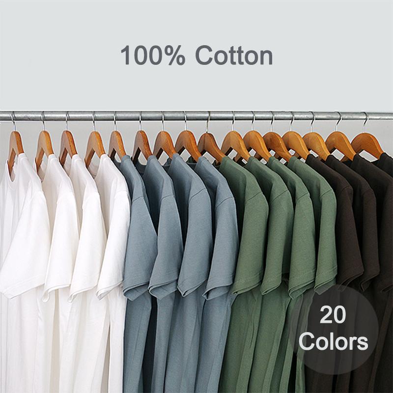 Summer T Shirts Men Women 100% Cotton Short Tees Plain Solid Male Female Basic Tshirts O Neck Slim Fit Tee shirt Young Boy Girl