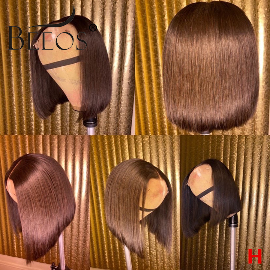 Beeos 180% 13*6 Deep Part Lace Front Human Hair Wig Straight Bob Brown Color Pre Plucked Brazilian Remy Hair Bleached Knots