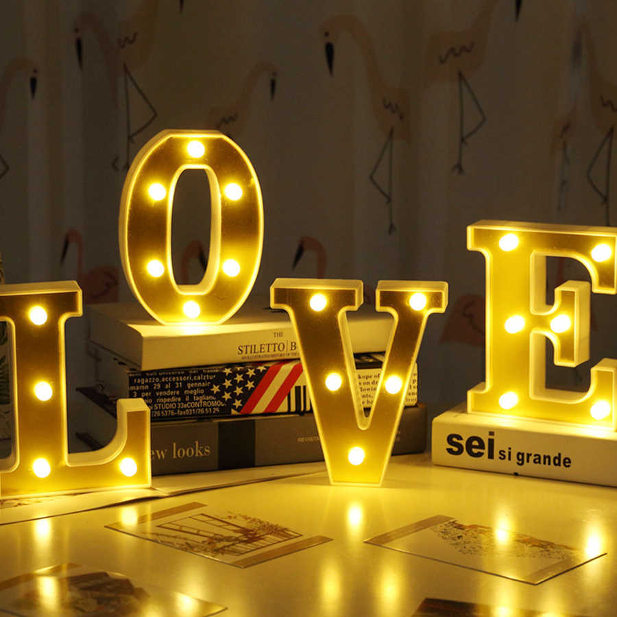 Meglio Neon O Led romantic 3d led letters night light lamp alphabet sign marquee table lamp  nightlights birthday wedding party decor lovers gifts
