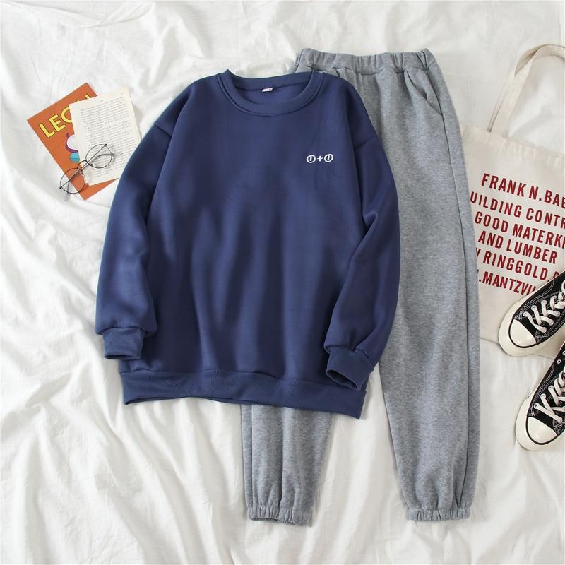 Harajuku Letter Embroidery Women Sets 2020 Spring Korean Style Streetwear Loose Sweatshirt+Harem Pants Basic 2 Piece Sets