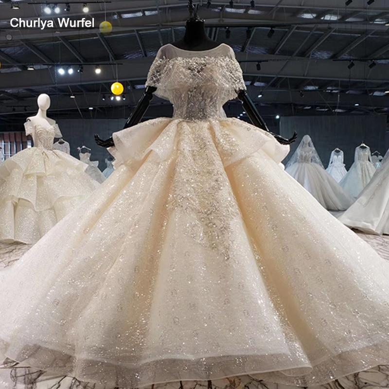HTL1056 キラキラウェディングドレス 2020 イリュージョン o ネックビーズ小岬レースのウェディングドレスプラスサイズのレースアップバック vestido デ casamentoウェディングドレス   -