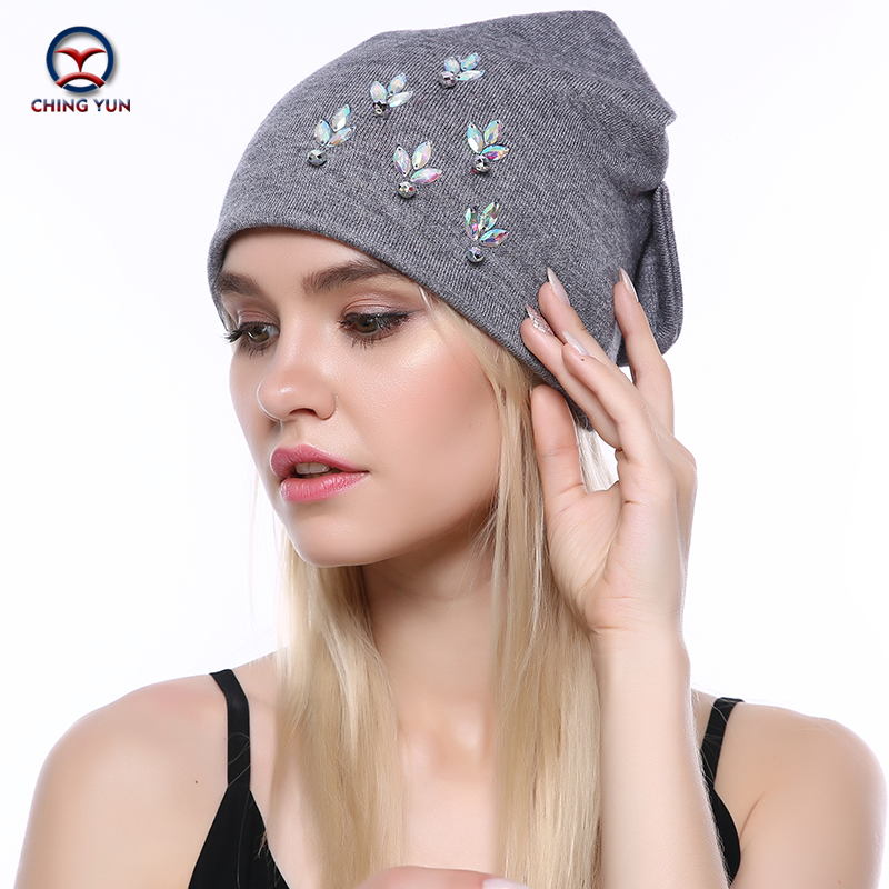 CHING YUN Women Cashmere Knit Hat New Soft Winter Warm Rhinestone Embroidery High Quality Female Solid Color Knitted Hat B19-17