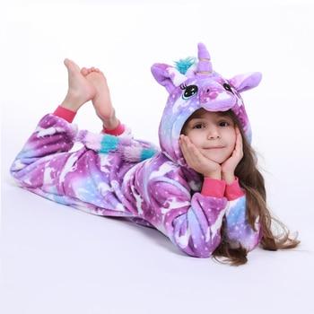 Kigurumi نيسيي الاطفال يونيكورن منامة للأطفال الكرتون الحيوان بطانية النوم طفل زي الشتاء صبي فتاة ليكورن Jumspuit