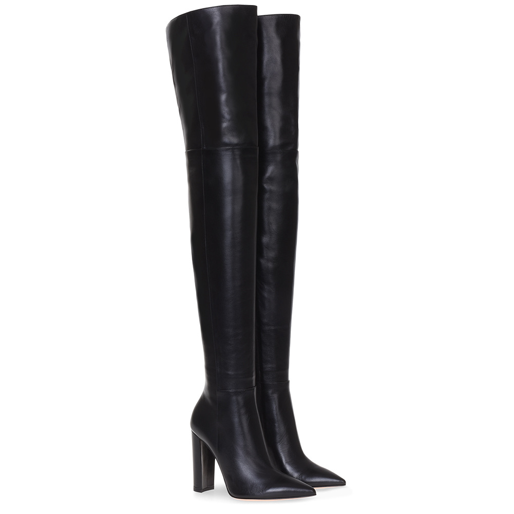 Women's Shoes Black Pointed Toed High Heeled Knee High Boots Square Heel Genuine Leather Over-the-knee Boots Femmes Chaussures