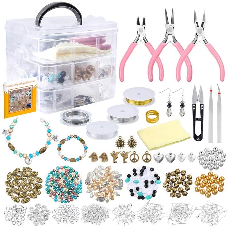 Fournitures de fabrication de bijoux 19 Styles perles 8 Styles résultats, pinces coupantes, pinces à épiler, fil de perles, mallette de rangement, breloques pour bijoux