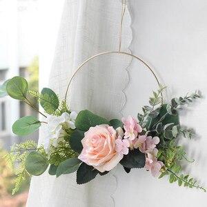 Image 2 - Gold Metal Ring Bride Portable Garland Artificial Flower Rack DIY Wedding Wreath Circle Girls Catching Dream Hoop Hanging Decor
