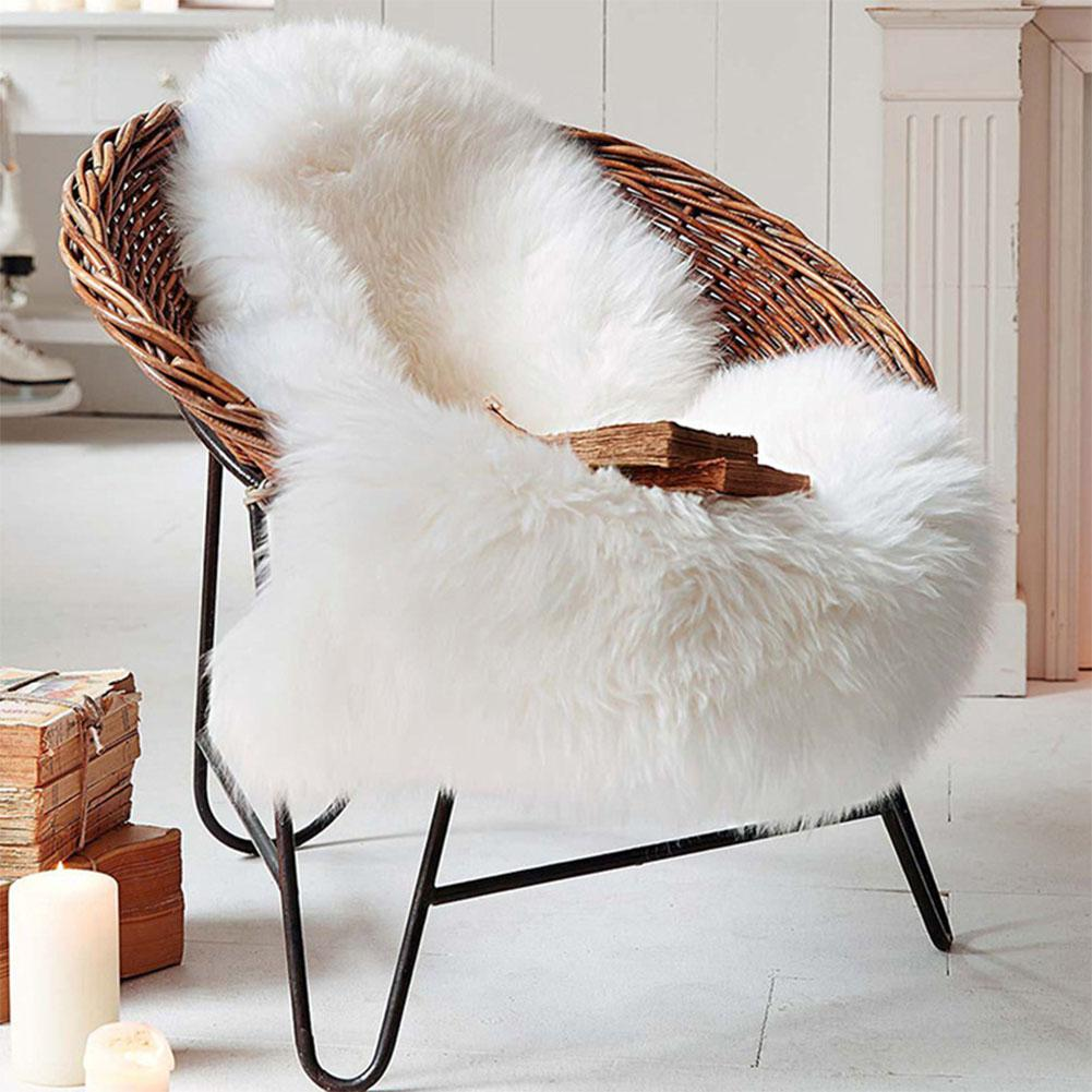 Rattan Chair Cushion Soft Artificial Rug Chair Cover Bedroom Mat Artificial Wool Warm Hairy Washable Carpet Seat