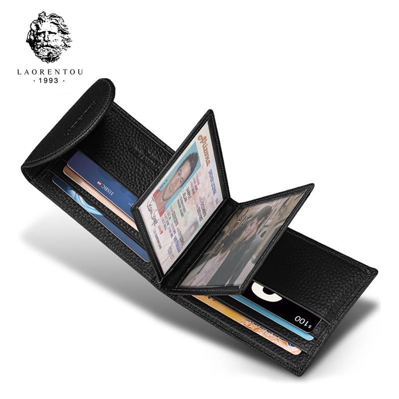 Laorentou Business Card Holder Genuine Leather Driver's License Case Holder Vintage Casual Clutch Card Position Purse For Men