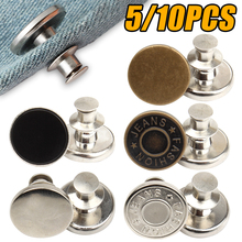 5/10PCS Detachable Retro Metal Buttons Snap Fastener Pants Pin for Jeans Retractable Button Sewing-Free Perfect Fit Reduce Waist