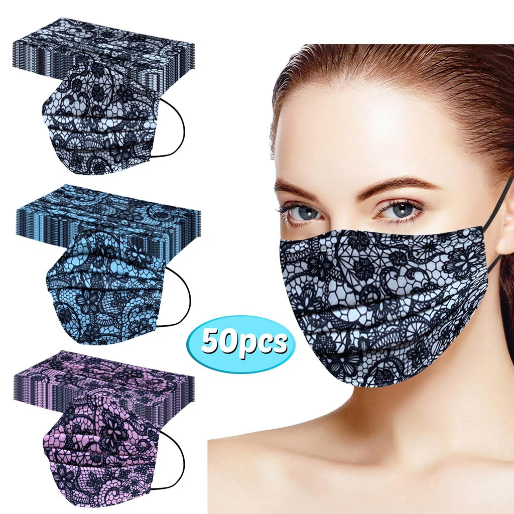 50 pçs máscara de renda descartáveis máscaras de rosto adultos máscaras de impressão verão mascarilla de encaje rímel boca proteção facial capa cor